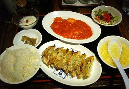 エビチリ餃子定食